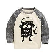 Soda Park Boys Doodle Big Eyes Monster Funny Long Sleeve T Shirt