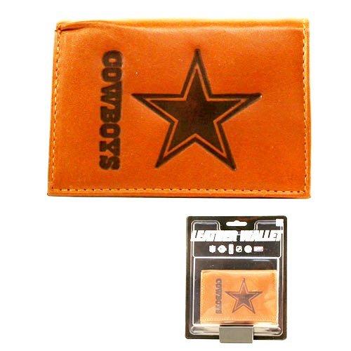 Nfl Team Logo Leather Tri Fold Wallet (Dallas Cowboys (Tan))