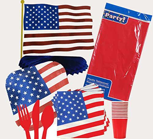 Patriotic Stars & Stripes 4th of July Party Supplies Bundle. Full Kit includes: Dinner Plates, Napkins, Cups,Utensils, Table Cover, Centerpiece. Serves 12 people. 97 Pcs. Set!