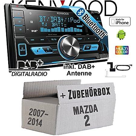 Mazda 2 DE 2007-2014 - Kenwood DPX-7000DAB - 2DIN Bluetooth DAB+ Digitalradio USB CD MP3 Autoradio inkl. DAB Antenne - Einbauset