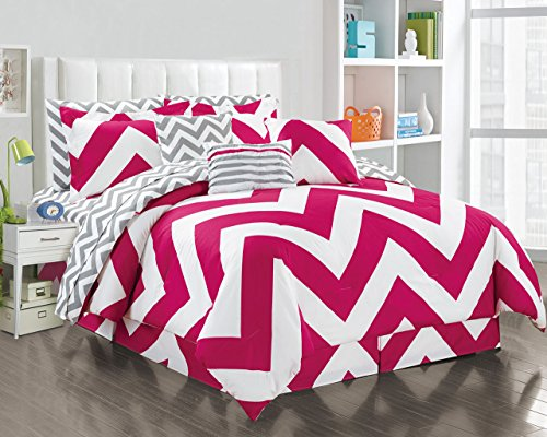 11 Piece Queen Chevron Pink/White Reversible Bed in a Bag Set