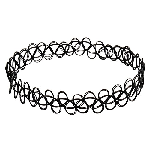 Jane Stone Choker Black Stretch Gothic Tattoo Henna Necklace (Fn1450-Black)