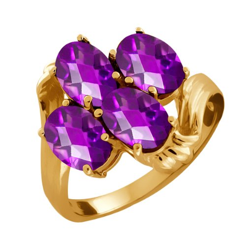 3.00 Ct Checkerboard Purple Amethyst Gold Plated Sterling