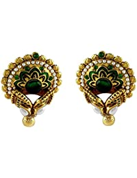 Gehnamart Yellow Gold Plated Pearl And Emerald Designer Stud Earring