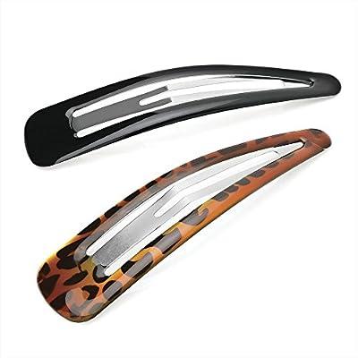 """Pair of Large Black and Tort Hair Clips Snap Bendies Sleepies 10cm (3.9"""") by Pritties Accessories"""