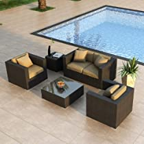 Big Sale Harmonia Living Urbana 4 Piece Outdoor Wicker Patio Sofa Set with Tan Sunbrella Cushions