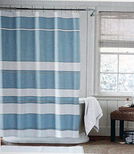 Tommy Hilfiger Fabric Shower Curtain Blue White Geometric Stripe Pattern London
