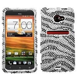 Rhinestones Protector Case for HTC EVO 4G LTE, Zebra Full Diamond