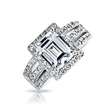 buy Bling Jewelry 925 Sterling Silver Emerald Cut Cz Art Deco Style Ring
