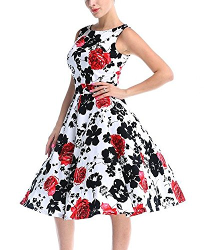 CHIC.U 1950's Vintage Floral Spring Garden Party Picnic Dress Party Cocktail Dress,Red,S