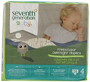 Seventh Generation Baby Overnight Diapers, Size 4