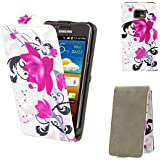 32nd® Design flip PU leather wallet case cover for Samsung Galaxy S2 Sii i9100 + Screen Protector and Cloth - Purple Rose