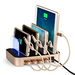 Charging Station, WinTech Detachable Universal Multi-Port USB Charging Station [24W 4-Port USB Charging Dock] Desktop Charging Stand Organizer Fits most USB-Charged Devices (Gold)
