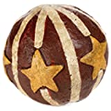 Craft Outlet Papier Mache Red Balls With Mustard Stars, 3-Inch, Set Of 6