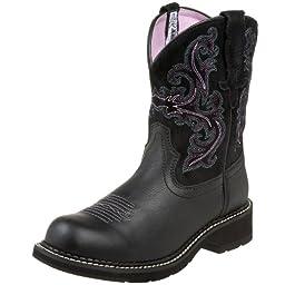 Ariat Women\'s Fatbaby II Western Cowboy Boot, Black Deertan/Orchid, 8 M US