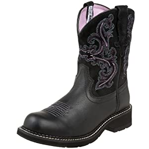 Ariat Women's Fatbaby II Boot,Black Deertan/Orchid,9 M US