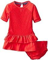 Nautica Baby Girls' Three Quarter Sleeve Lace Overlay Dress