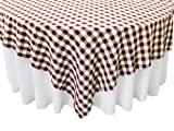 LA Linen Poly Checkered Square Tablecloth, 90 by 90-Inch, Burgundy/White