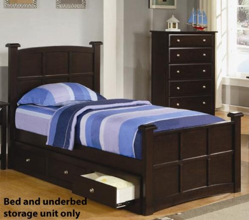 Youth Full Size Bed With Under Bed Drawers In Rich Cappuccino Finish back-942346