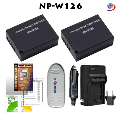 ZIP NP-W126 Kit (Includes 2-NP-W126 1500mAh batteries, charger, card reader, screen protector kit) for Fuji Finepix HS30EXR,HS33EXR