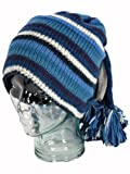 LOUDelephant blue and white striped wool knit fountain hat with fleece lining