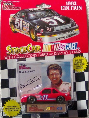 1993-racing-champions-nascar-bill-elliott-11-amoco-rare-die-cast-with-collectors-card-display-stand-