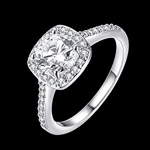 [Eternity Love] Women's Pretty 18K White Gold Plated Princess Cut CZ Crystal Engagement Rings Best Promise Rings for Her Anniversary Cocktail Arrow Wedding Bands TIVANI Collection Jewelry Rings by TIVANI
