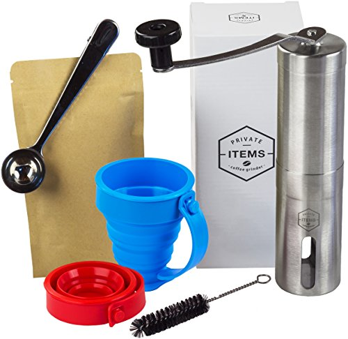 Cofee Grinder Manual + [TRAVEL CUPS, CASE WITH TIES, 2 VACUUM BAGS] - Stainless Steel with Adjustable Ceramic Burr - Aeropress Compatible - Perfect for Traveling - Gift Box