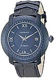 "Versace ""Männern dv-25'Swiss Automatik Edelstahl und Leder Casual Uhr, Farbe: Blau (Modell: v13020016)"