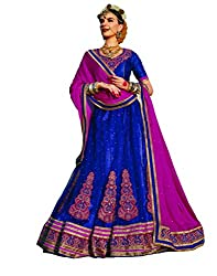 DesiButik's Wedding Wear Alluring Blue Net Lehenga