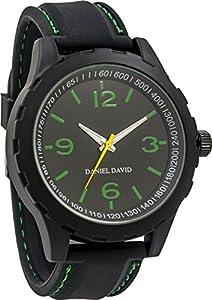 Daniel David Men |Green Accent Black Band Sports-StyleWatch|DD14103