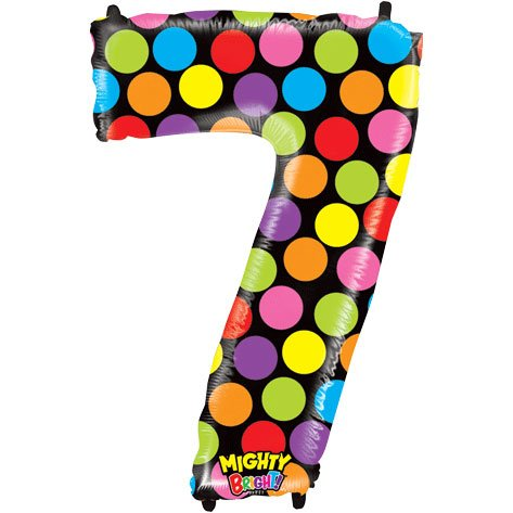 "Number Seven Mighty Bright Polka Dot Megaloon 40"" Mylar Foil Balloon"