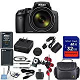 Nikon Coolpix P900 Wi-Fi 83x Zoom Digital Camera + Extra Replacement Battery + Original Accessories + Extremespeed 32GB Commander Memory + Spider Flexible Tripod + Deluxe Carrying Case + 12pc Bundle