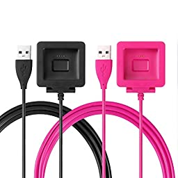 Fitbit Blaze Charger, Konikit Replacement USB Charging Power Cable for Fitbit Blaze Smart Fitness Watch, Pack of 2, Black+Pink