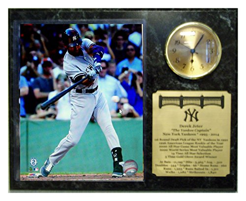 New York Yankees Derek Jeter Final Last Career Hit 8X10 Photograph Picture Plaque With Clock Insert And Engraved Nameplate front-235969