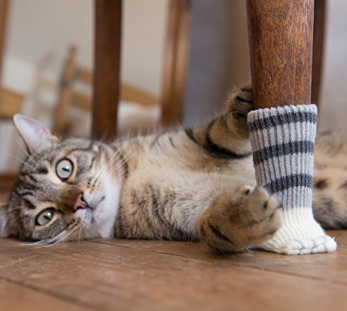 8 Chair Socks with Cute Cat Paw Design. Furniture Sliders that Protect Hardwood Floors from Scratches and Reduce Noise. 8 Pieces in 2 Gift Boxes. Purrrfect for Cat Lovers. Grey.