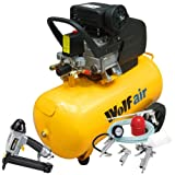 Wolf Sioux 50, 2.5HP, 9.5CFM, 230V, MWP: 116psi, 50 Litre Air Compressor + 5 Piece Air Tool Kit: 5m Hose, Gravity Feed Spray Gun, Tyre Inflator, Long Nozzle Sprayer and Blow Gun + Air Nailer