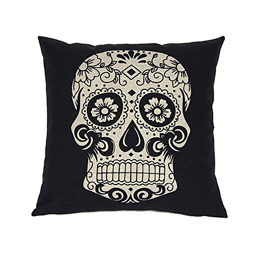"""Sunlightsell Stylish Simplicity Cotton Linen Square Decorative Fashion Throw Pillow Case Cushion Cover-Black White Skull 18 """"X18 """" (S001A)"""