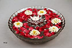 FunRobbers Crystal Floating Flower Rangoli Tea light candle for Diwali Wedding Decoration Mahalakshmi Pooja Assorted Design and Colour on Availability