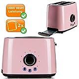 Edelstahl Retro-Toaster für zwei Toast-Scheiben, 1000Watt, Cool-Touch Gehäuse, pastell-rosa