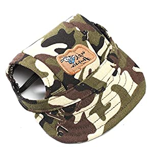 Happy Hours - Fashion Small Pet Dog Cat Baseball Visor Sports Hat Cap Puppy Summer Baseball Outdoor Ear Holes Sunbonnet Outfit Elastic Leather Neck Strap 6 Colors 2 Sizes Available