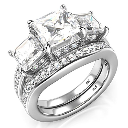 Sz 8 Sterling Silver 3 Carat Princess Cut Cubic Zirconia CZ Wedding Engagement Ring Set