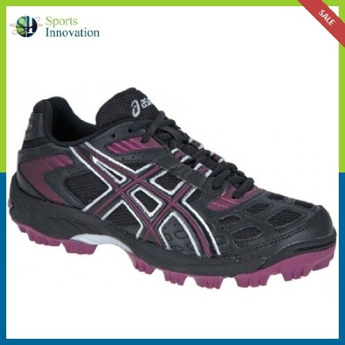 Asics Hockey Shoes- Gel-Lethal MP4 Woman - Black/Plum/Silver- Size UK 4