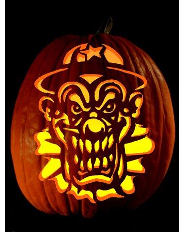 Printable pumpkin carving patterns for Creepy clown pumpkin stencil