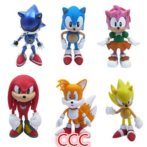 """6pcs Set Sonic the Hedgehog Amy Tails Mephiles Knuckles 6cm/2.4"""" PVC Figure"""