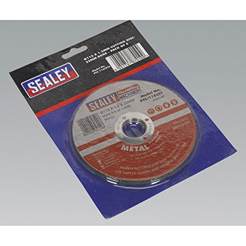Sealey PTC/115CET5 Cutting Disc, Dia 115 x 1 mm, 22 mm Bore, Set of 5