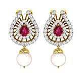 TBZ - The Original 18k Yellow Gold and Diamond Party Wear Designer Stud Earrings