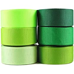 """HipGirl 6x5yd 7/8"""" Solid Grosgrain Ribbon Mini Collection--Green Tone--Color May Vary"""