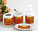 Bathroom Accessory Sets - Funny orange cat household bathroom ceramic family of four / Toiletries suit