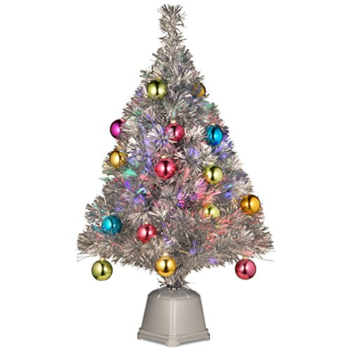 National Tree Fiber Optic Fireworks Silver Tinsel Tree In A Silver Square Base, 32-Inch